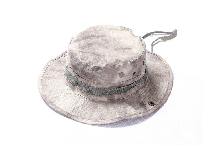Ripstop Army Bucket Hat With String For Fishing , Desert Digital Camo Boonie Hat